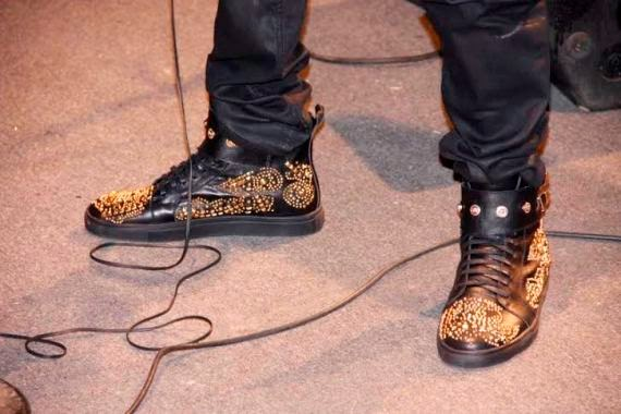 2face gold encrusted sneakers
