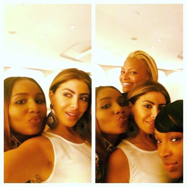 Abisola with her friends; Kim, LaLa Anthony and Malika