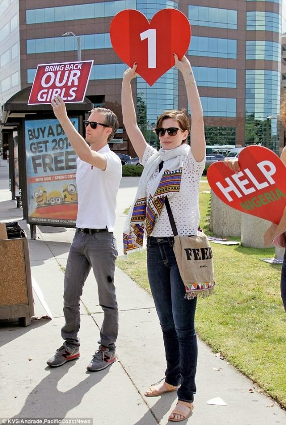 Anne Hathaway BringBackourGirls protest in LA