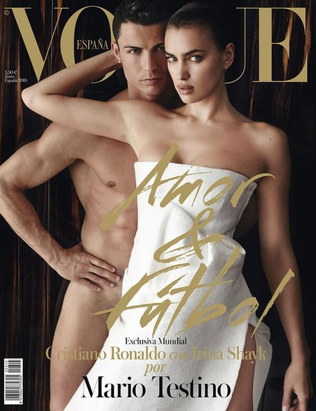 Cristiano Ronaldo poses nude with girlfriend on the cover of Vogue Spain