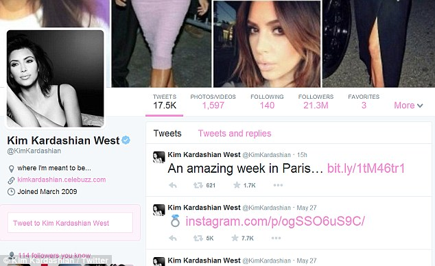 Kim kardashian changes her name on Instagram and twitter to Mrs West