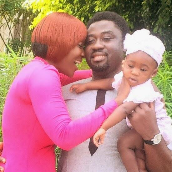 Mercy Johnson with husband and daughter