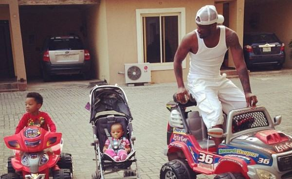 Peter Okoye with his children Cameron and Aliona