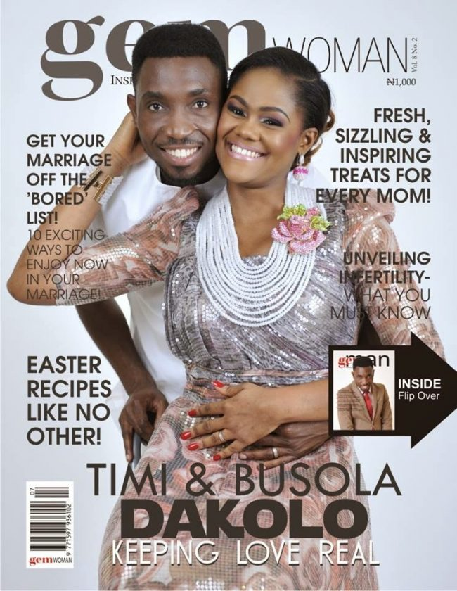 Timi Dakolo and wife looking stunning on the cover of Gem magazine