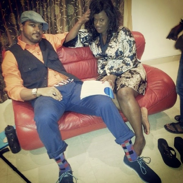 Uche Jombo spotted on a movie set with her growing baby bump