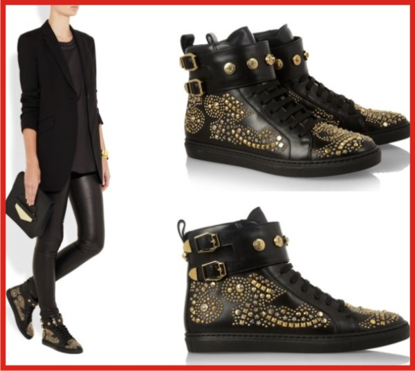 Versace Studded leather high top sneakers