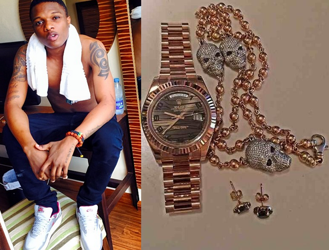 Wizkid flaunts his N5million worth diamond & gold jewellery