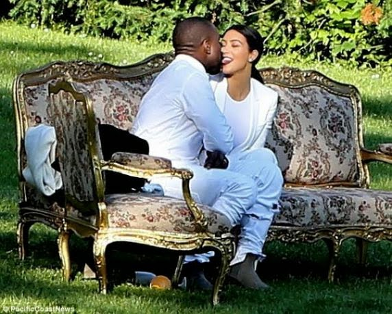 Kanye and Kim West spotted french kissing