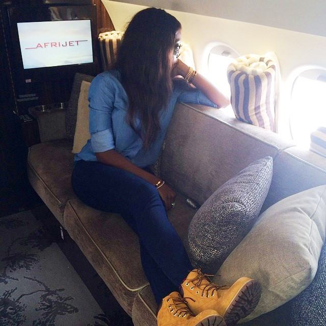 Tiwa Savage and Teebillz chilling in a private jet