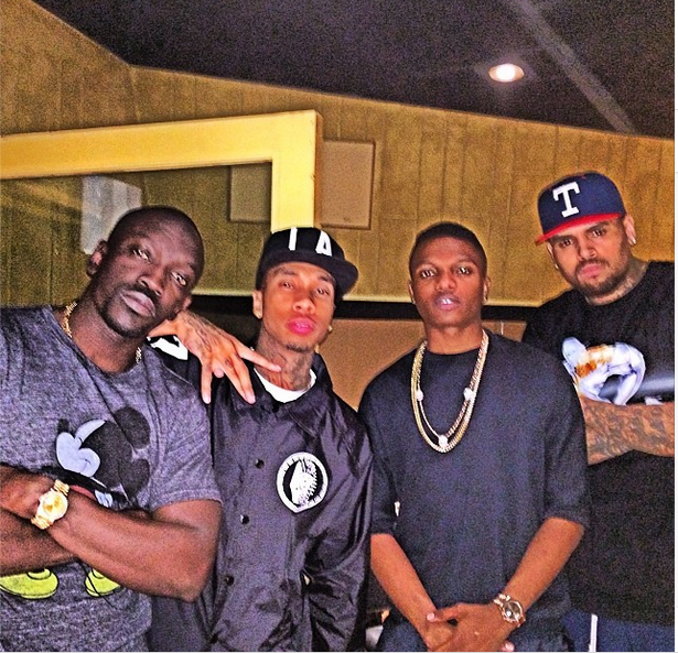 Wizkid chilling with Chris Brown, Tyga in LA