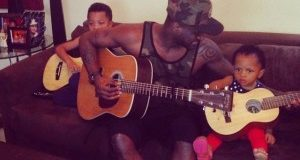 Peter Okoye gives his kids guitar lessons