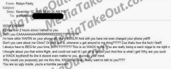 mail Rihanna allegedly sent to Chris Brown