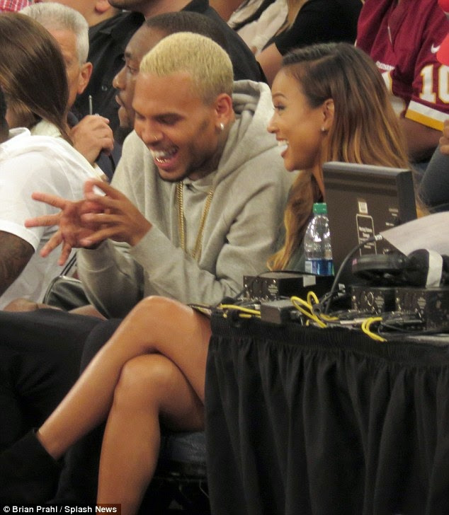 Chris Brown and Karrueche all loved up as they watch basketball game NaijaVibe