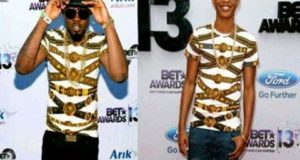 Ice Prince caught wearing a fake versace T-shirt