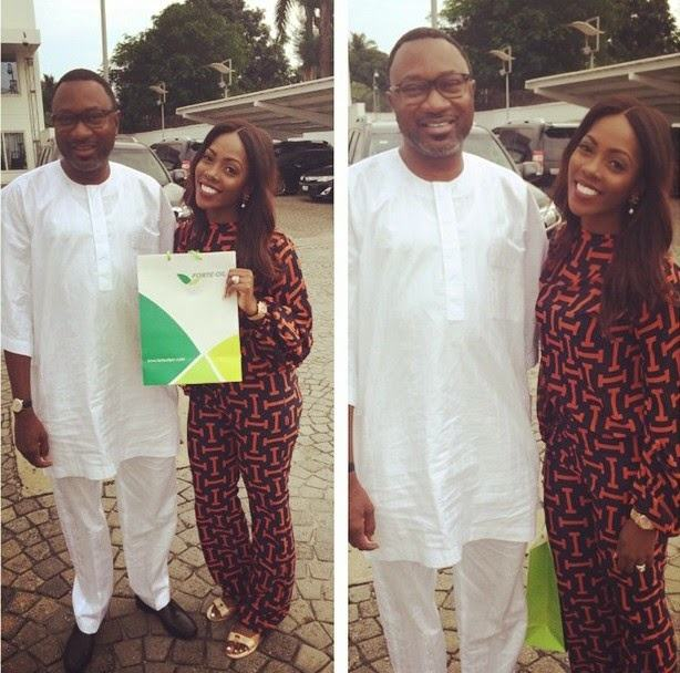 Tiwa savage chills with billionaire Femi Otedola in his yacht