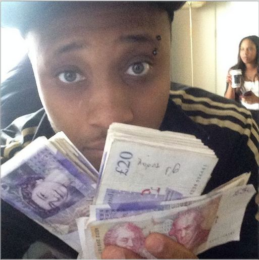 B-Red shows off his stacks of pounds