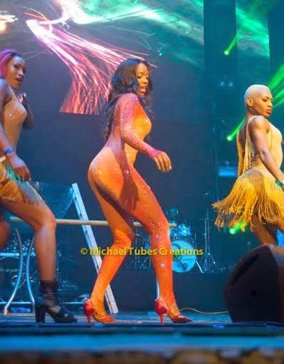 Tiwa Savage performs in a controversial nude attire