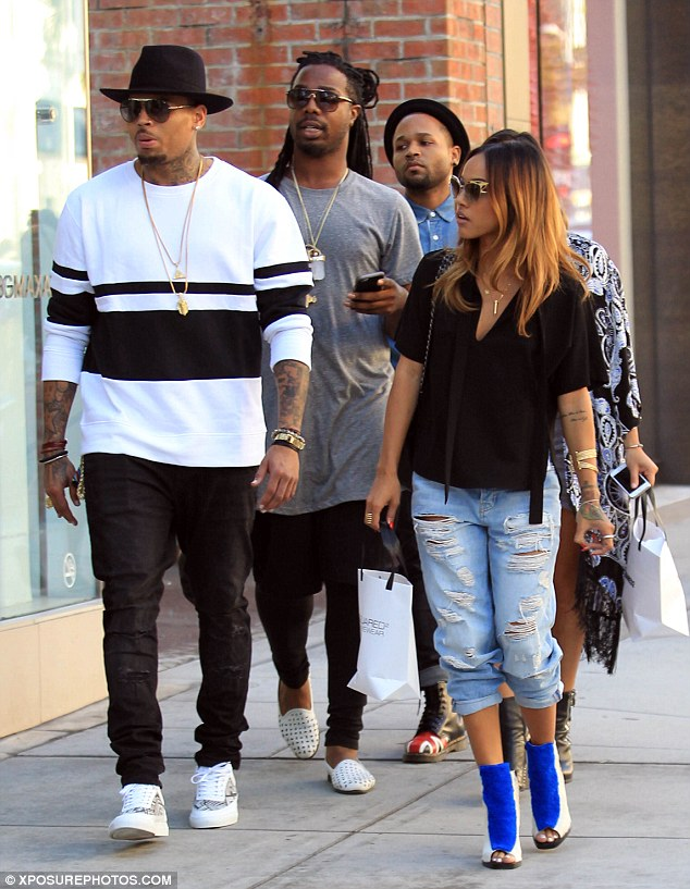 Chris Brown and Karrueche Tran go shopping in Beverly Hills