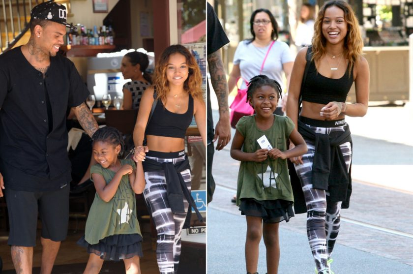 Chris Brown and Karrueche Tran with a friend's daughter