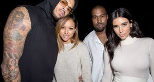 Chris Brown and Karrueche spotted with Kim & Kanye West