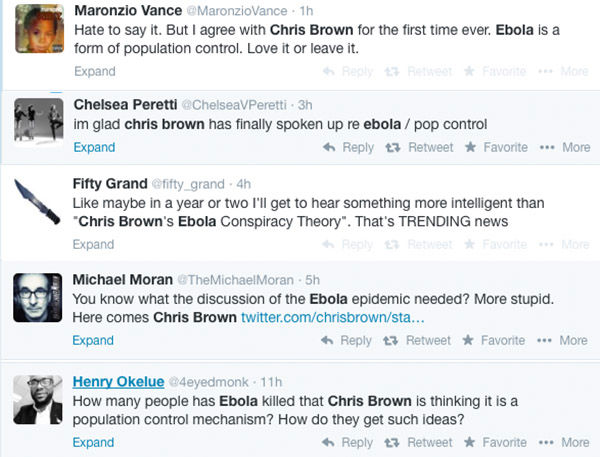 Chris Brown thinks Ebola is a form of population control