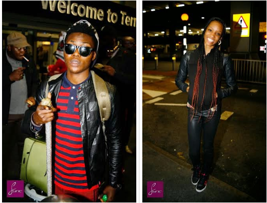 Di'ja & Reekado Banks at Heathrow airport