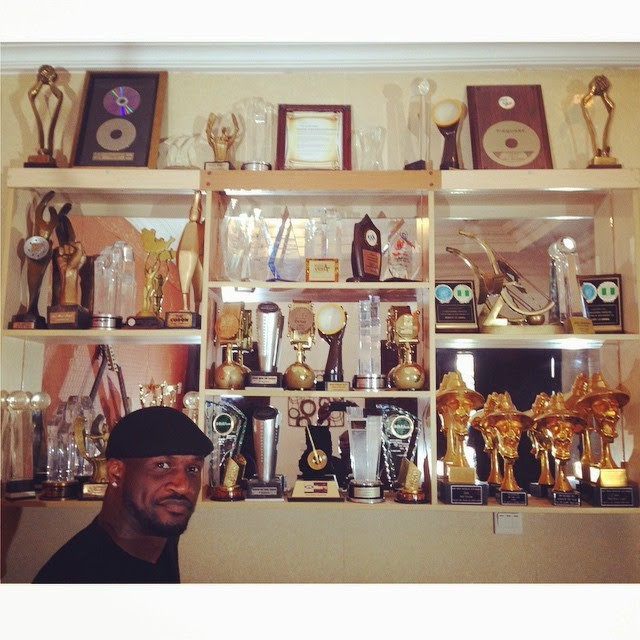 Peter Okoye flaunts PSquare's collection of Awards