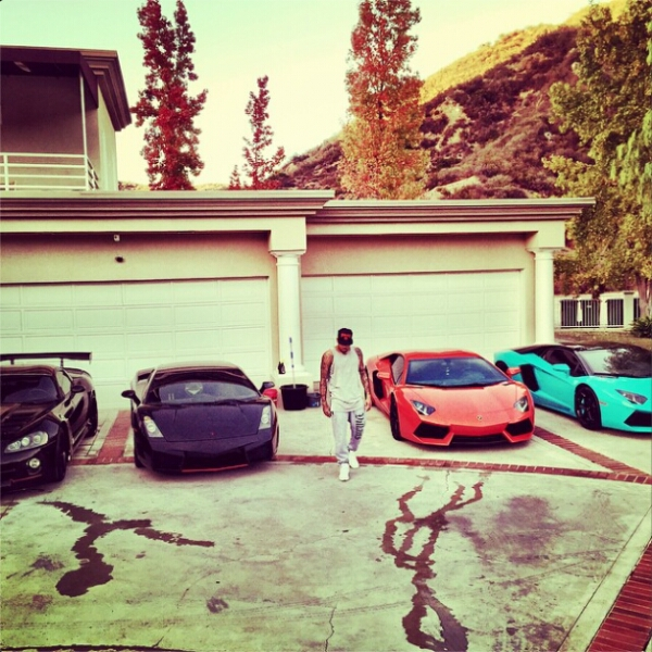 Chris Brown shows off his car collection