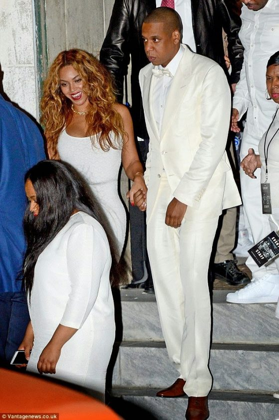 Jay Z and Beyonce loved up at Solange's wedding