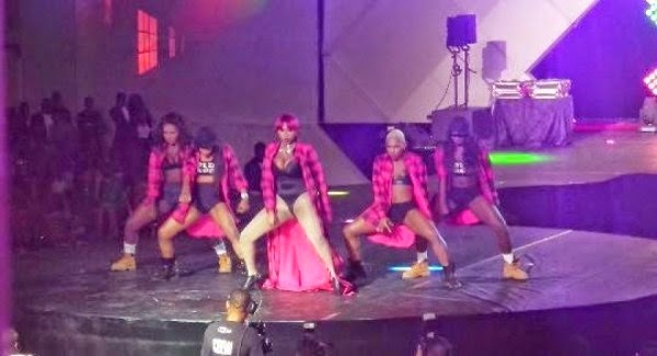 Cynthia Morgan's b00b almost spilled out on stage