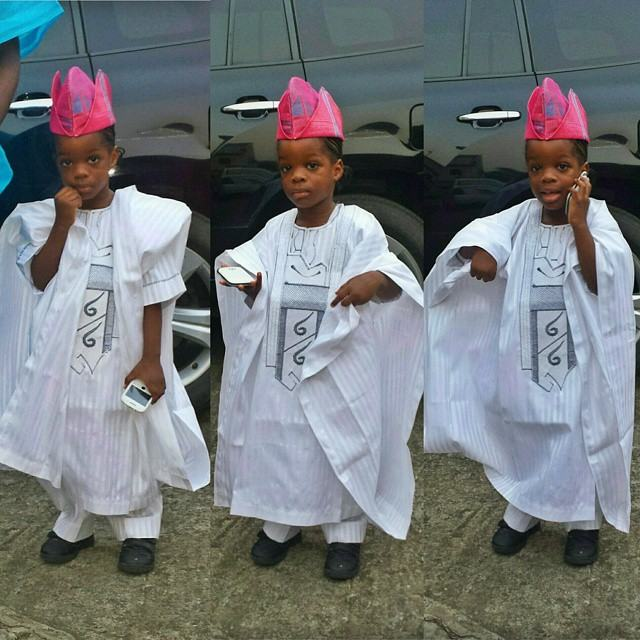 Wizkid's son looking dapper in agbada