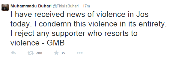 Buhari condemns attack on Pres. Jonathan's campaign vehicle in Jos