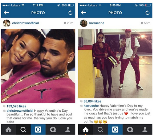 Chris Brown and Karrueche's val message