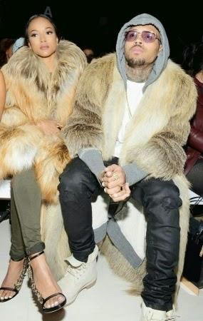 Chris Brown and boo Karrueche step out in matching fur outfits