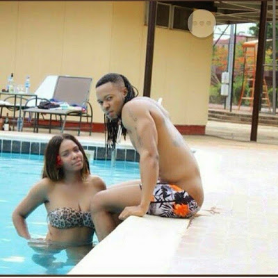 Flavour Hits the Swimming Pool With Hot Lady