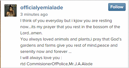 Yemi Alade writes a tribute for her dad