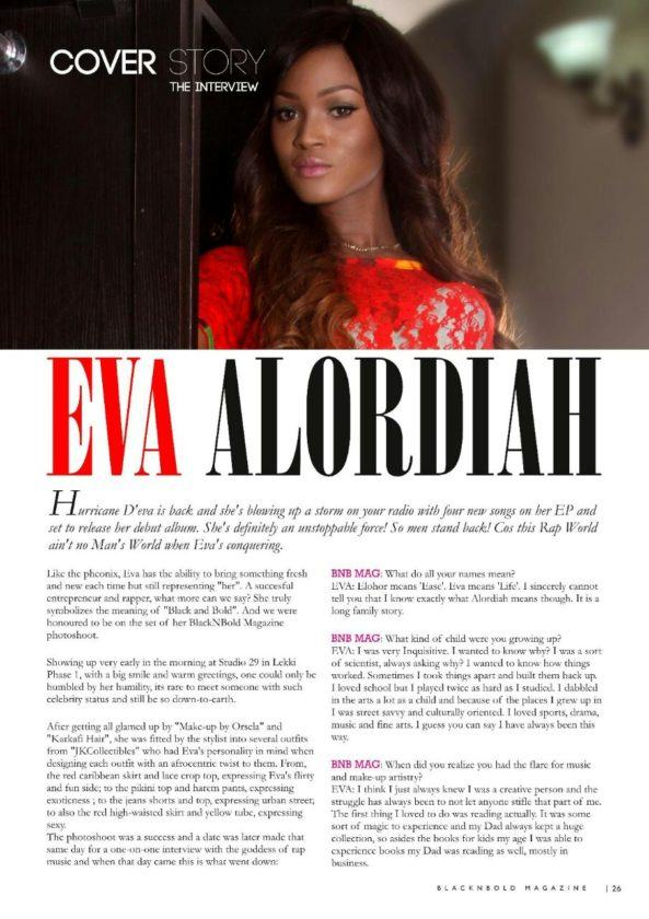 Eva Alordiah covers the Diva Edition of BlackNBold Magazine