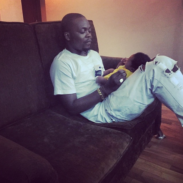Olamide shows off one-month old son