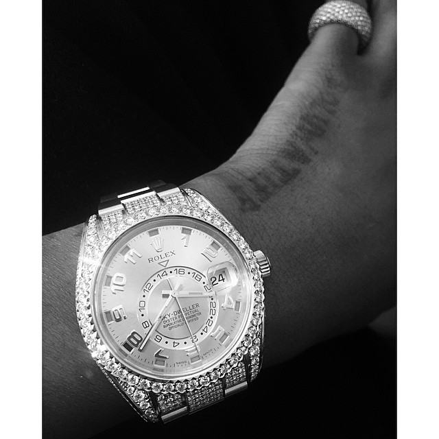Wizkid flaunts his new Rolex Sky-Dweller watch