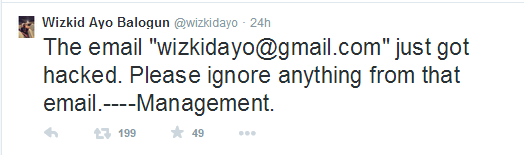 Wizkid reveals his email account has been hacked