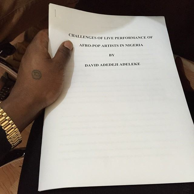 Davido set to graduate as he shares final year project