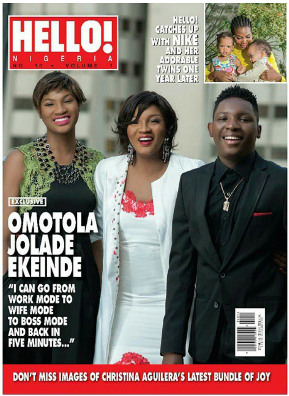 Omotola And Her Kids Princess And Captain E Cover Hello! Nigeria Latest Issue