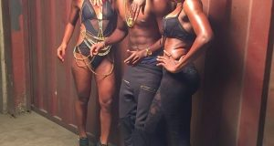 Patoranking and sexy dancers pose on set