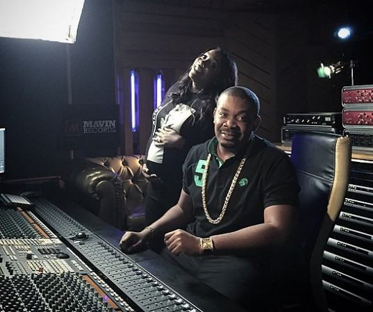 Tiwa Savage and her baby bump in the studio with Don Jazzy