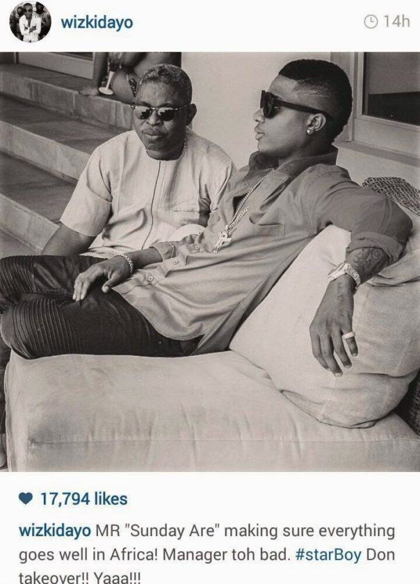 Wizkid officially reveals Sunday Are is his new manager