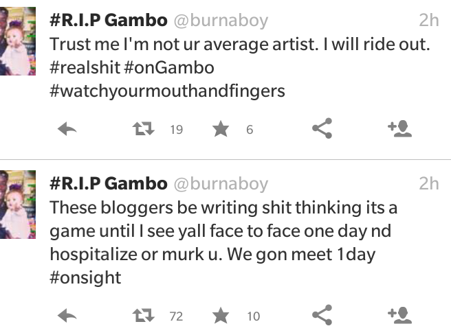 Burna Boy says he will 'hospitalize' bloggers writing 'sh*t' about him