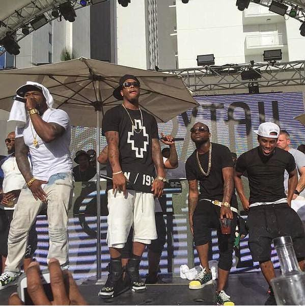 Davido parties on stage with 50cent in Vegas