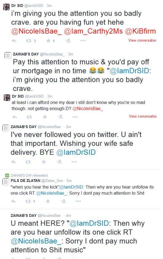 Dr Sid twitfight with followers