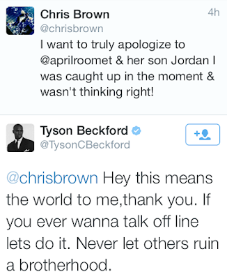 Tyson has accepted Chris Brown's apology