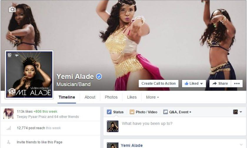 Yemi Alade gets verified on Facebook